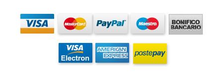 Simboli delle modalità di pagamento sicuro accettate dal sito